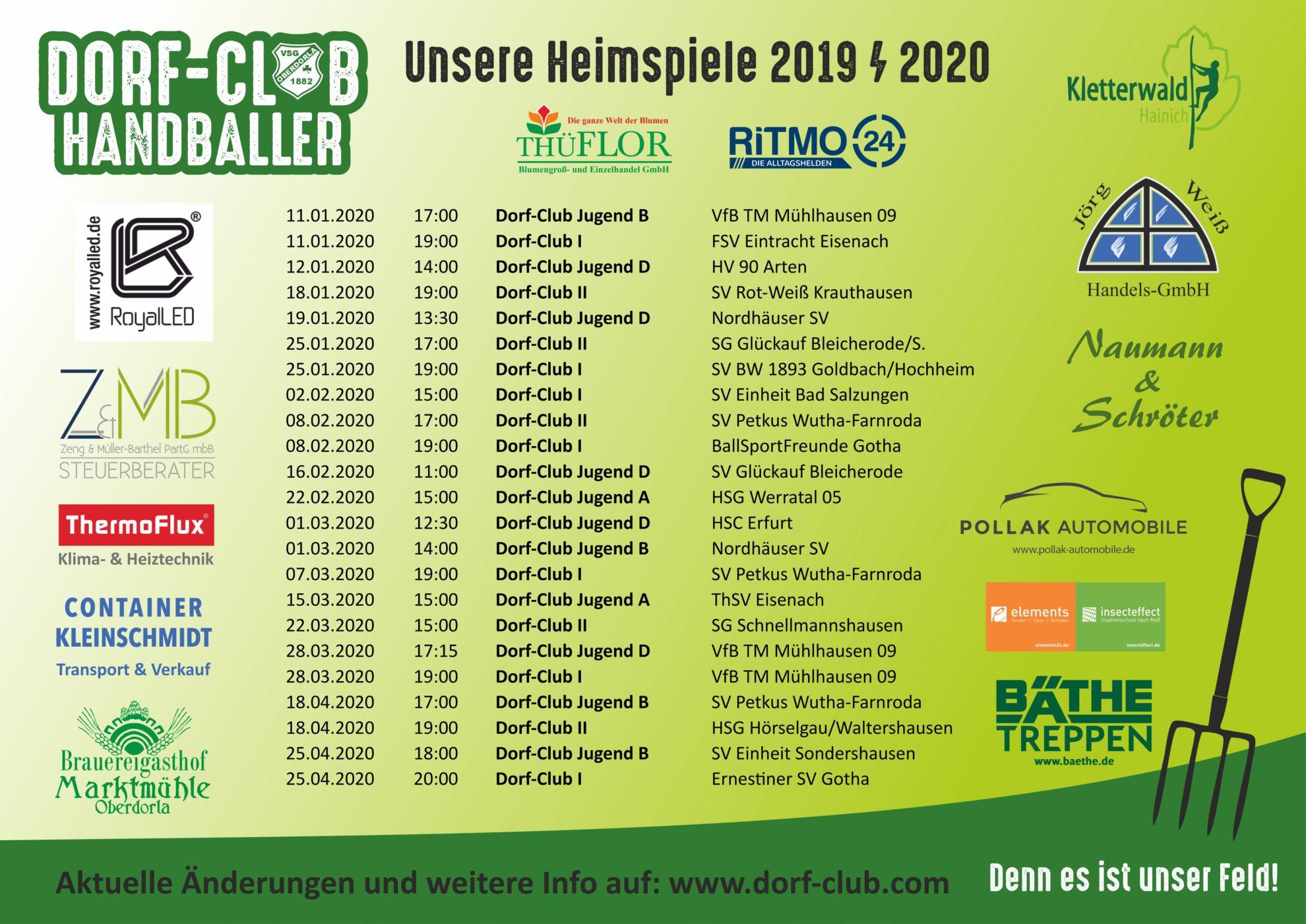 Aktuelle Heimspiele der Dorf-Club Handballer aus Oberdorla Görmar